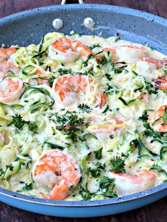 Keto Low-Carb Creamy Garlic Shrimp Alfredo Zucchini Noodles (Zoodles)