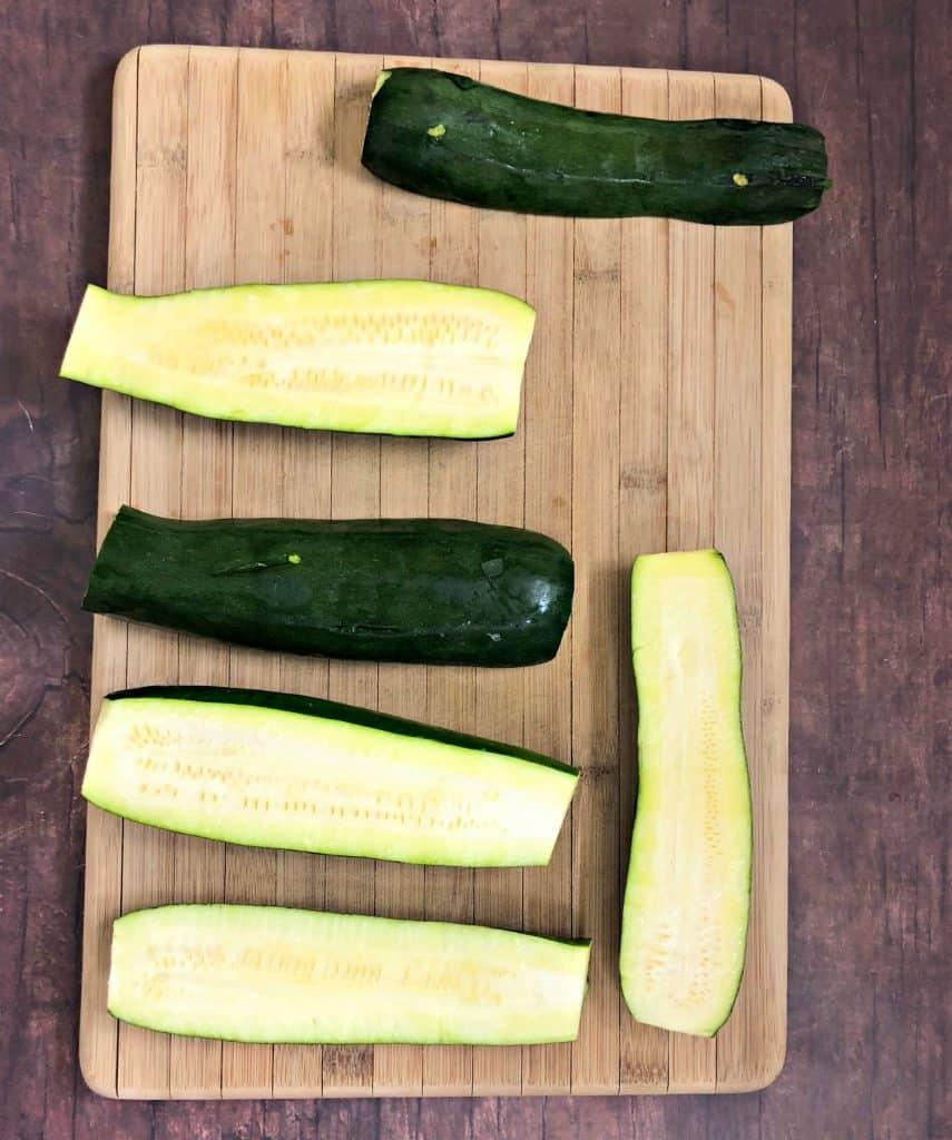 raw zucchini on a cutting board