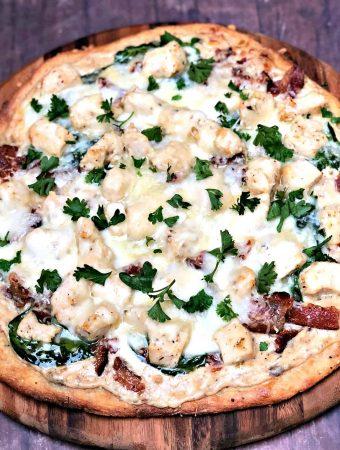 keto fathead alfredo bacon chicken pizza on a pan