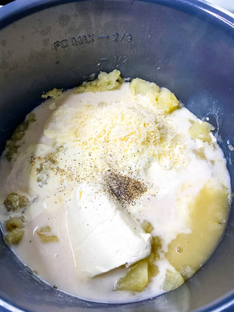 uncooked potato soup in an Instant Pot