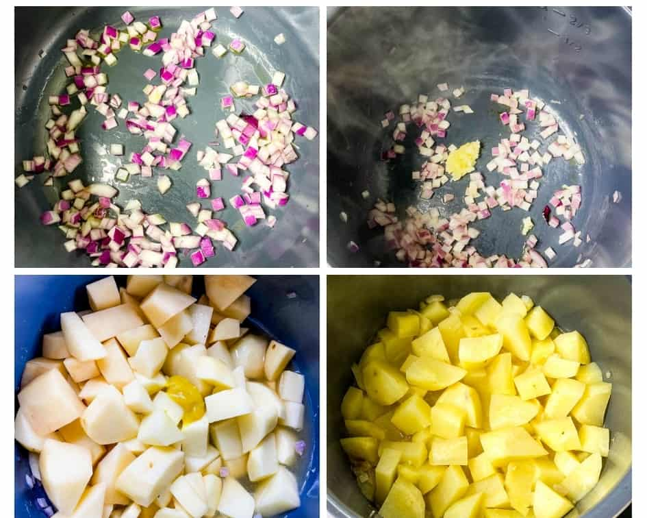 collage photo of 4 photos showing how to make Instant Pot potato soup