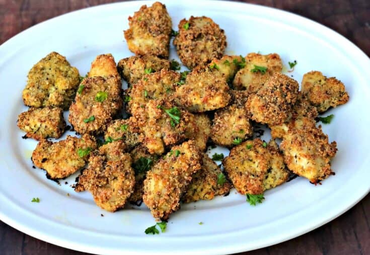 Keto Low-Carb Bacon Parmesan Crusted Chicken Nuggets