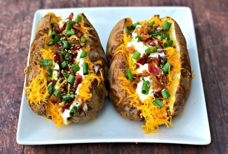 Easy, Air Fryer Loaded Stuffed Baked Potatoes with {VIDEO}