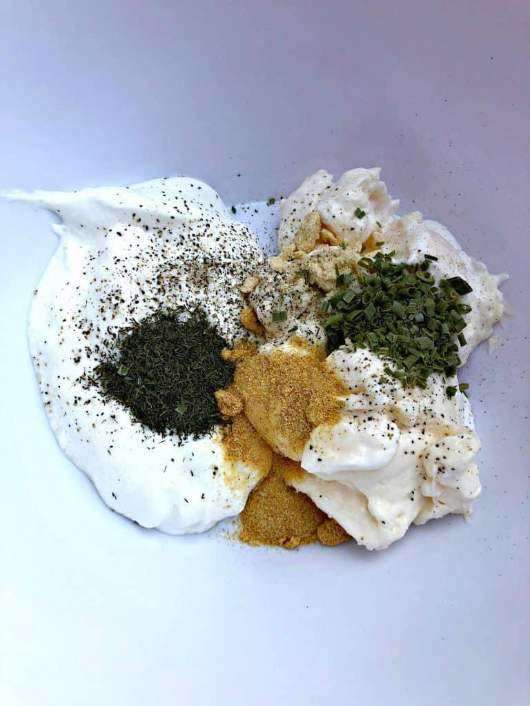 low carb ranch dressing ingredients in a bowl