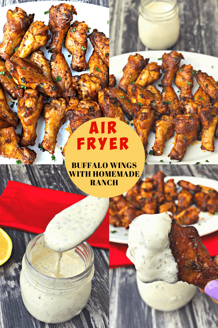 Air Fryer Crispy Buffalo Chicken Hot Wings (Keto Low-Carb) is a quick and easy recipe that uses a marinade and dry rub to perfectly season the chicken. A recipe for homemade keto ranch dressing is also included.  These wings have less than 1 gram of carbs per serving! You decide whether you prefer mild wings or spicy. These wings are low-fat, ketogenic, gluten-free, and perfect for ketosis diets. #AirFryer #AirFryerRecipes #Keto #KetoRecipes #KetoDiet