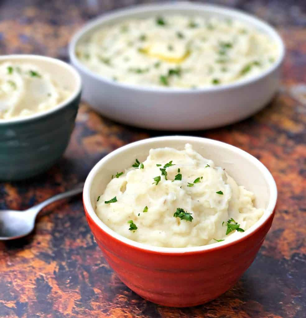 instant pot mashed potatoes in 3 bowls