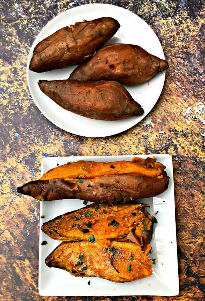 instant pot sweet potatoes on a white plate