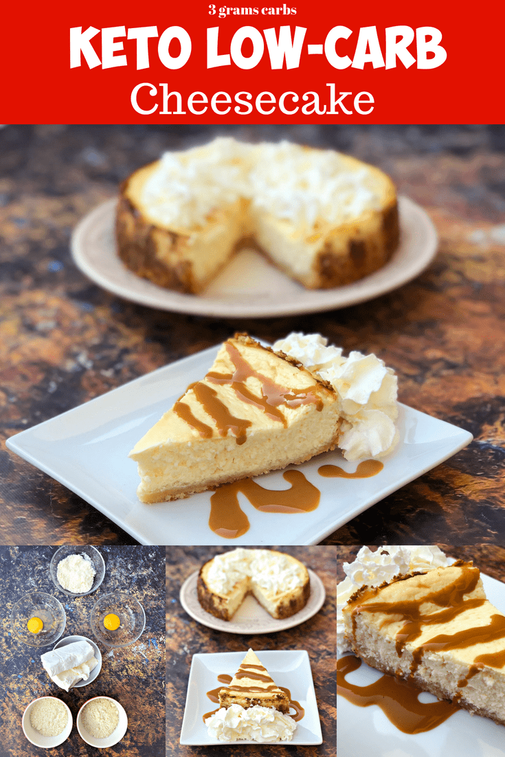 Low-Carb Sugar-Free Keto Cheesecake with is a quick and easy ketogenic dessert recipe that is practically carb free and perfect for keto diets and a ketosis lifestyle. This is the best cheesecake recipe and has a delicious gluten-free almond flour crust. You can also prepare the recipe crustless with no crust. #Keto #KetoRecipes #KetoDessert #KetoCheesecake