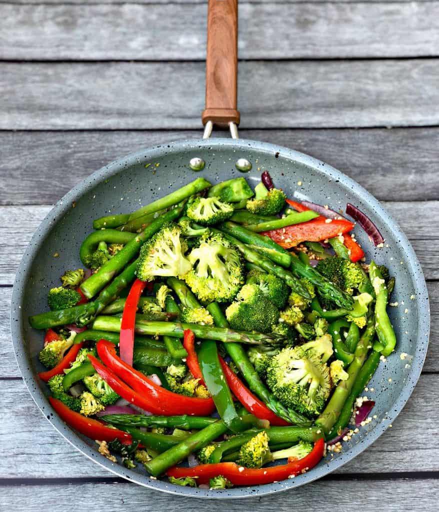 low carb vegetable stir fry in a skillet