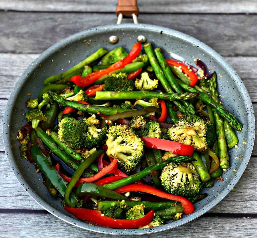low carb vegetable stir fry in a skillet