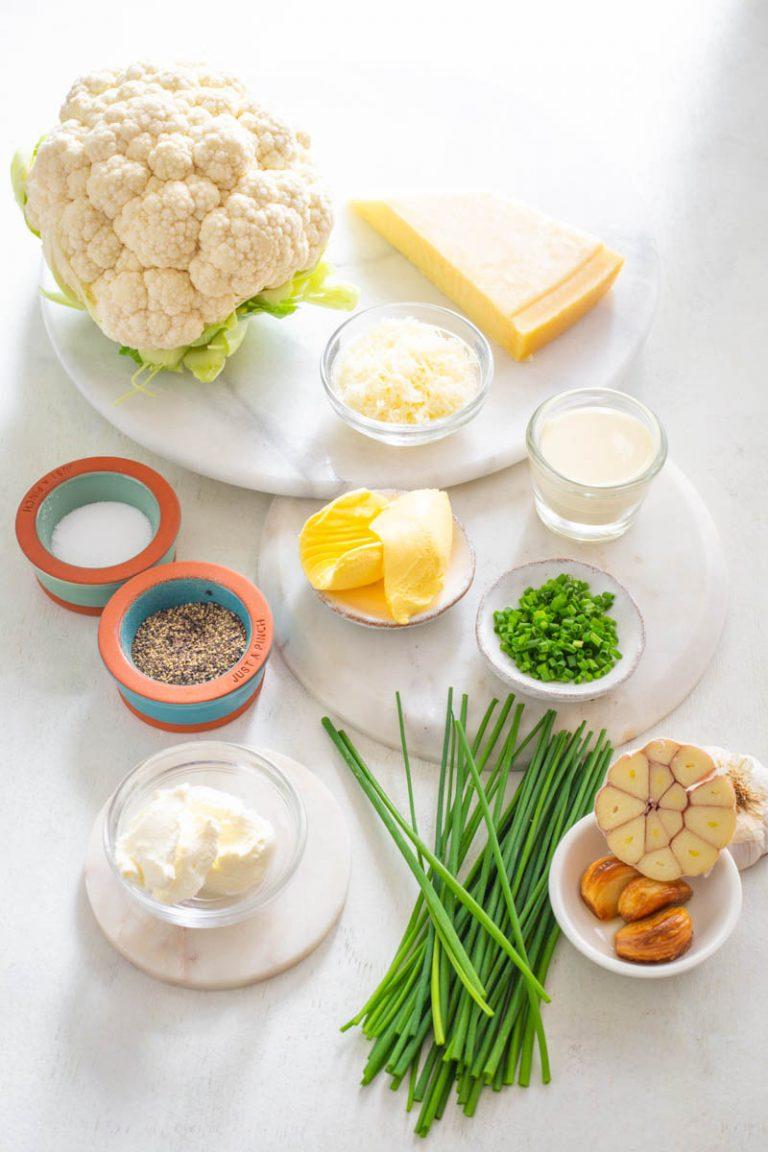 ingredients for keto cauliflower mashed potatoes