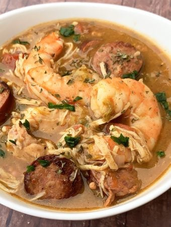 chicken and seafood instant pot gumbo in a white bowl