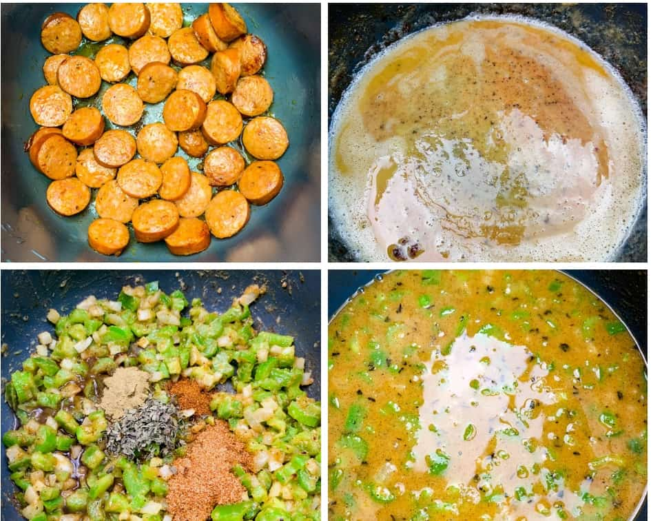 4 collage photos of sausage cooking in an Instant Pot, roux for gumbo, and chopped vegetables in an Instant Pot