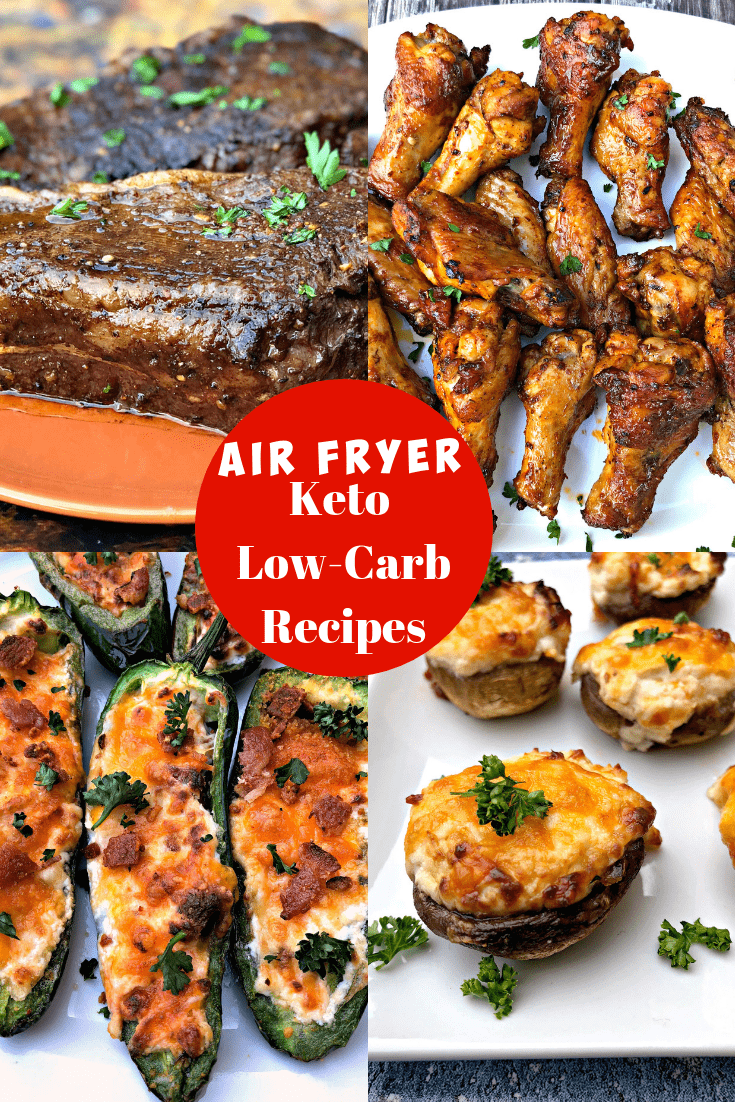 5 Quick and Easy Keto Low-Carb Air Fryer Recipes for Dinner that are perfect for using an air fryer for the keto diet.  This post outlines an array of low-carb air fryer recipe ideas. These keto-friendly recipes include keto air fryer chicken and other main dishes and side dishes. #AirFryer #AirFryerRecipes #AirFryerKetoRecipes #AirFryerKetoDiet