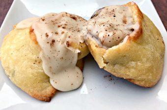 keto fathead cinnamon rolls on a white plate