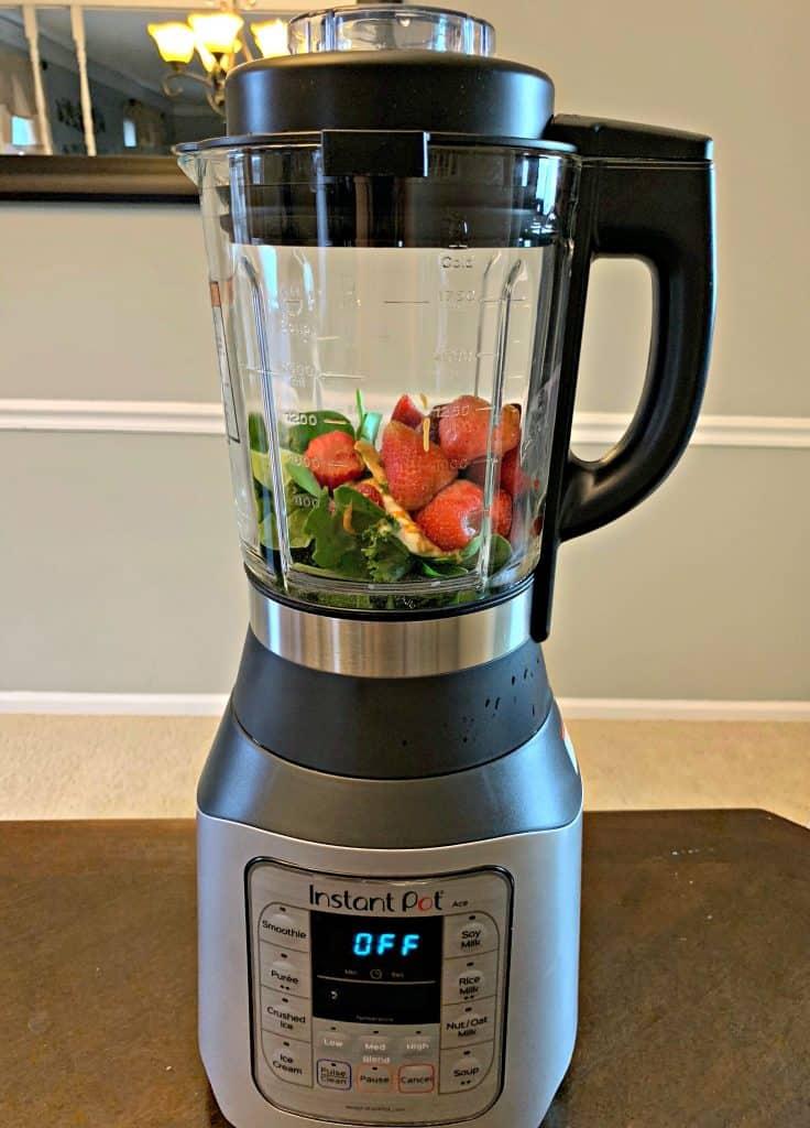 fruit and vegetables inside instant pot cooking blender