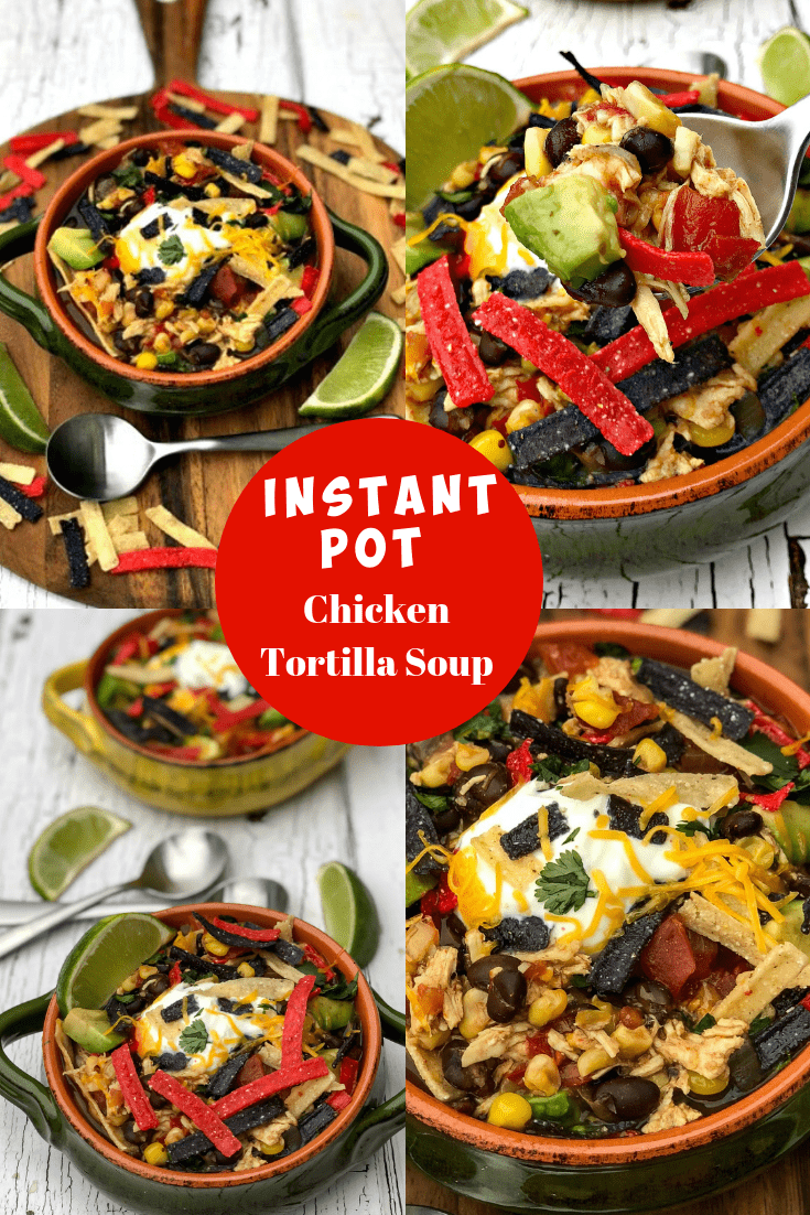 Easy, Instant Pot Chicken Tortilla Soup is a quick and easy 20-minute pressure cooker recipe with tortilla strips, avocado, Greek yogurt, shredded cheese, black beans, and cilantro. This meal is perfect for weeknight dinners, meal prep, and freezer meals. Toss your favorite salsa on the soup if you wish! If you wish to make this low-carb and keto, simply omit the beans and tortilla! If strict keto, omit the corn as well. #InstantPot #InstantPotRecipes #ChickenTortillaSoup