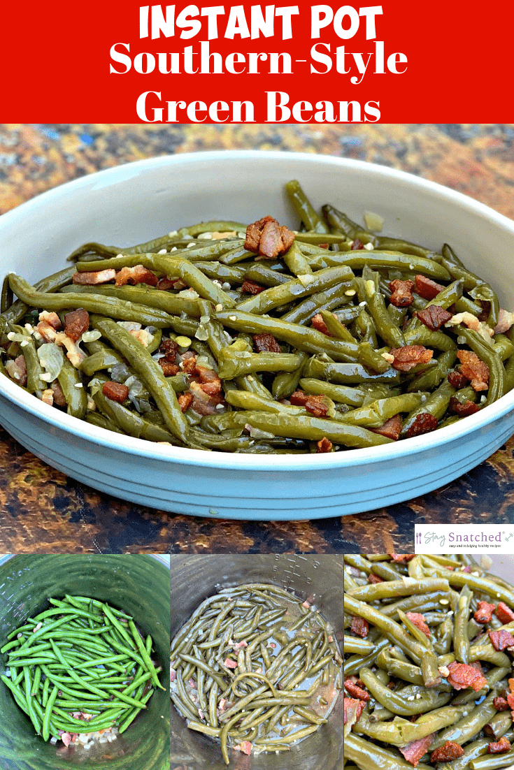Easy Instant Pot Southern-Style Soul Food Green Beans with {VIDEO} is a quick pressure cooker recipe that is perfect for the holidays including Thanksgiving and Christmas. This dish is keto and low-carb loaded with immense flavor using chicken broth, bacon, and seasoning. This post provides the cooking time for prepping green beans in the Instant Pot.  #StaySnatched #InstantPot #InstantPotRecipes #InstantPotGreenBeans #SouthernGreenBeans