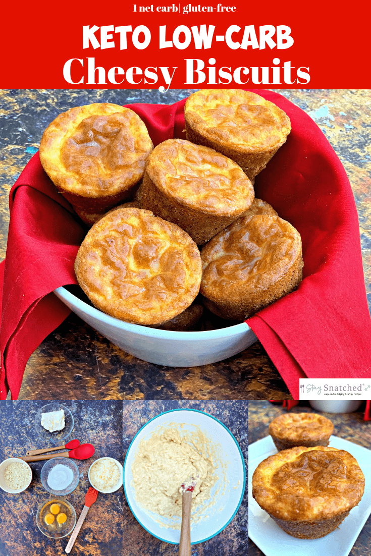 Keto Low-Carb Cheesy Biscuits is a quick and easy gluten-free recipe made with almond flour. You can serve these fluffy biscuit rolls for breakfast with butter or ghee or with gravy! Or you can add cheddar cheese and turn these into a savory side dish sensation! Only 1 net carb per biscuit! These are definitely the best keto biscuits! #StaySnatched #Keto #KetoRecipes #KetoBiscuits #KetoBread
