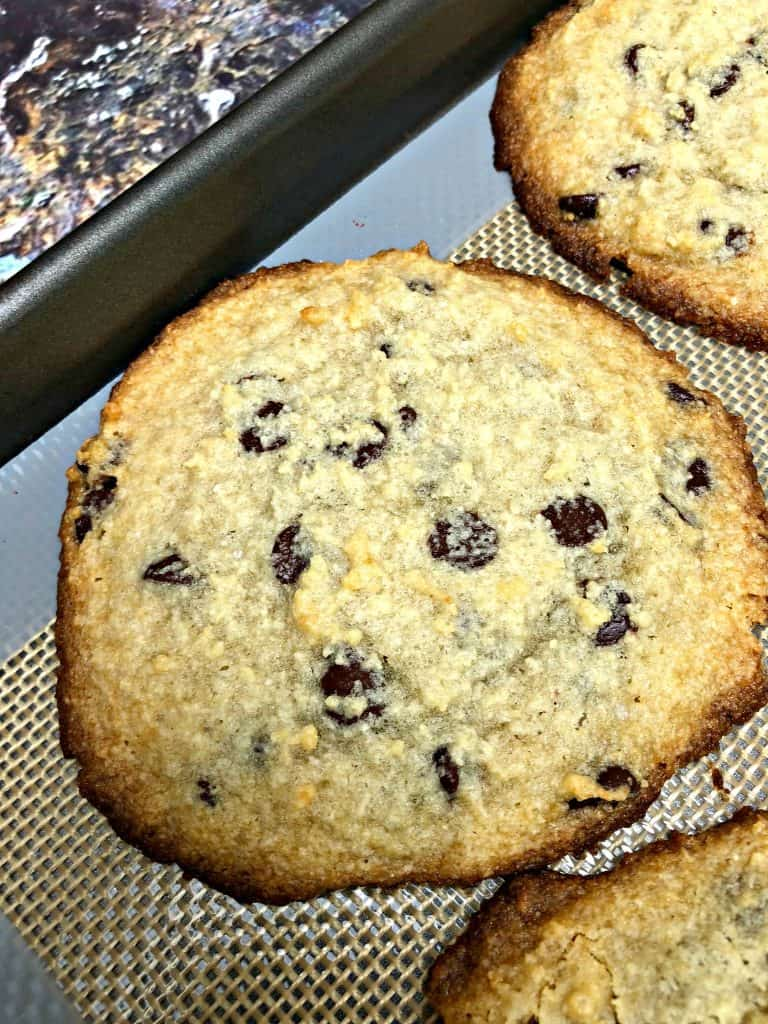 keto chocolate chip cookies on a cookie sheet
