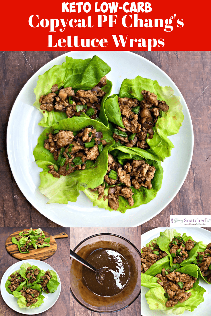 Easy, Keto Low-Carb PF Chang's Chicken Lettuce Wraps with Video is a quick copycat recipe that is low in calories. This tutorial outlines what lettuce is best for wraps and how to make the wraps. This dish is drizzled in decadent peanut butter sauce that has fewer calories and carbs than the PF Chang's version. #Keto #KetoRecipes #KetoDiet #KetoDinnerRecipes