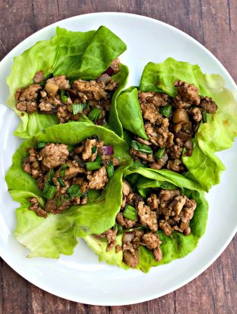 keto low carb pf changs lettuce wraps on a white plate