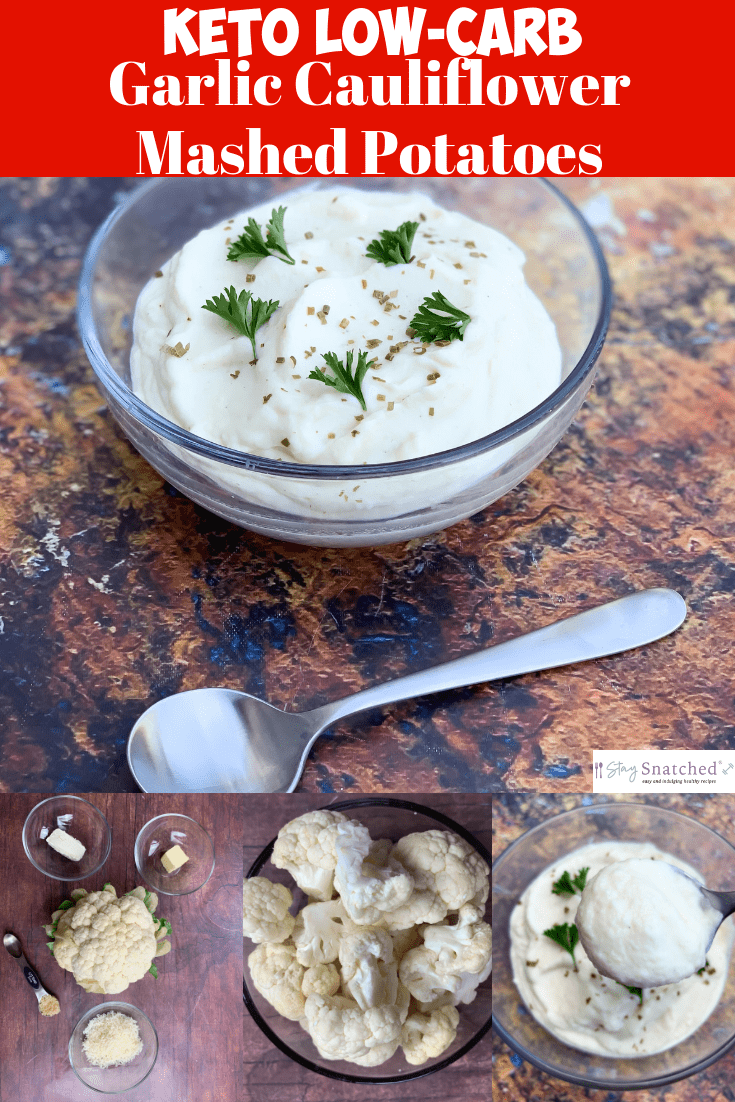 Easy Keto Low-Carb Cauliflower Mashed Potatoes with {VIDEO} is the best quick and healthy recipe using cream cheese, parmesan, and garlic to make cauliflower puree. This keto cauliflower mash makes the perfect side dish. You can even turn it into loaded cauliflower mashed potatoes. The carbs in cauliflower are low in, making this dish perfect for the holidays, Thanksgiving, and Christmas. #Keto #KetoRecipes #KetoCauliflowerMashedPotatoes #KetoHolidayRecipes #KetoThanksgiving