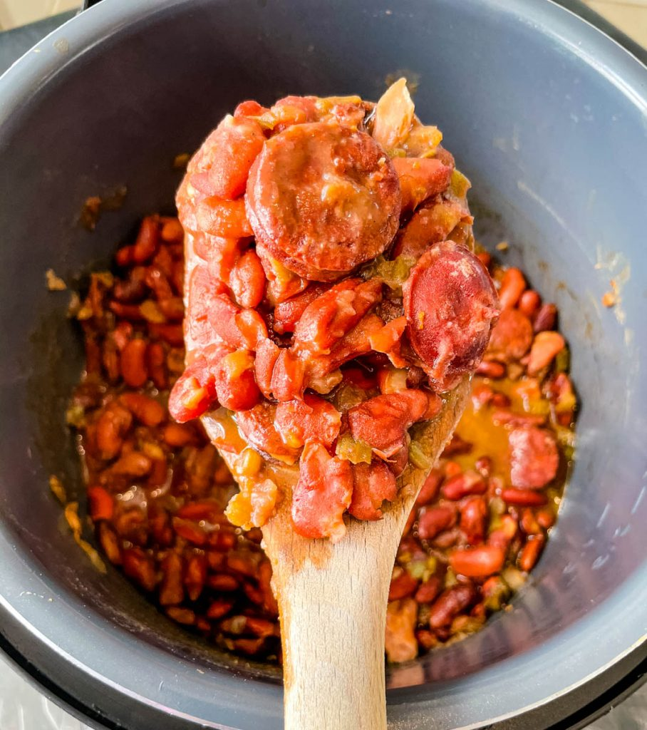 instant pot red beans and rice in a brown bowl