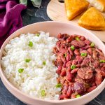 instant pot red beans and rice in a white bowl
