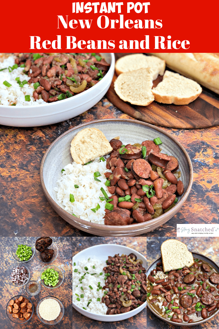 Instant Pot New Orleans Red Beans and Rice with {VIDEO} is an authentic quick and easy one-pot recipe that will show how to make red beans and rice in a pressure cooker. It includes the cooking time and is made with soaked beans, andouille sausage, rice, and a ham hock bone. Make this infamous Popeyes dish at home!