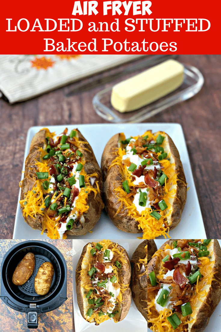Easy, Air Fryer Loaded Stuffed Baked Potatoes is a quick recipe that will show you the time and how long to cook potatoes in the air fryer. These potatoes are stuffed with melted butter, sour cream, crunchy bacon, green onions, and chives. You can even prepare them as twice baked potatoes! #AirFryer #AirFryerRecipes #AirFryerBakedPotatoes #AirFryerPotatoes