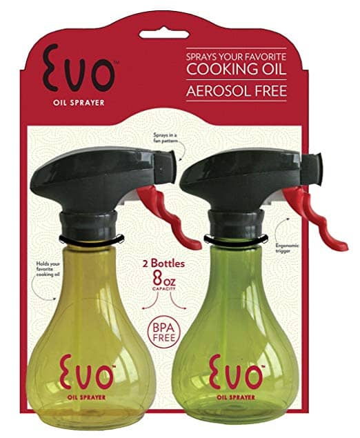 Evo Oil Sprayer Bottle, Non-Aerosol for Olive Oil and Cooking Oils, 8-ounce Capacity, Set of 2