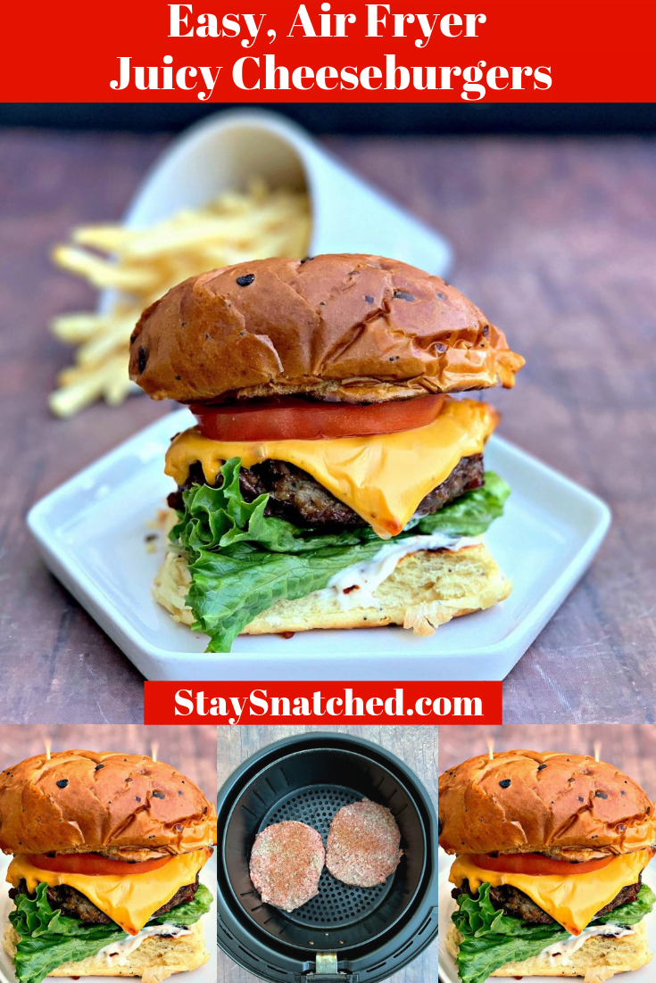 Quick and Easy Juicy Air Fryer Cheeseburgers is a beef recipe that the whole family will love. This post will show you how to cook burgers in an air fryer and for how long. The recipe also includes instructions for frozen burgers. You can even make air fryer turkey burgers! #AirFryerRecipes #AirFryerBurgers