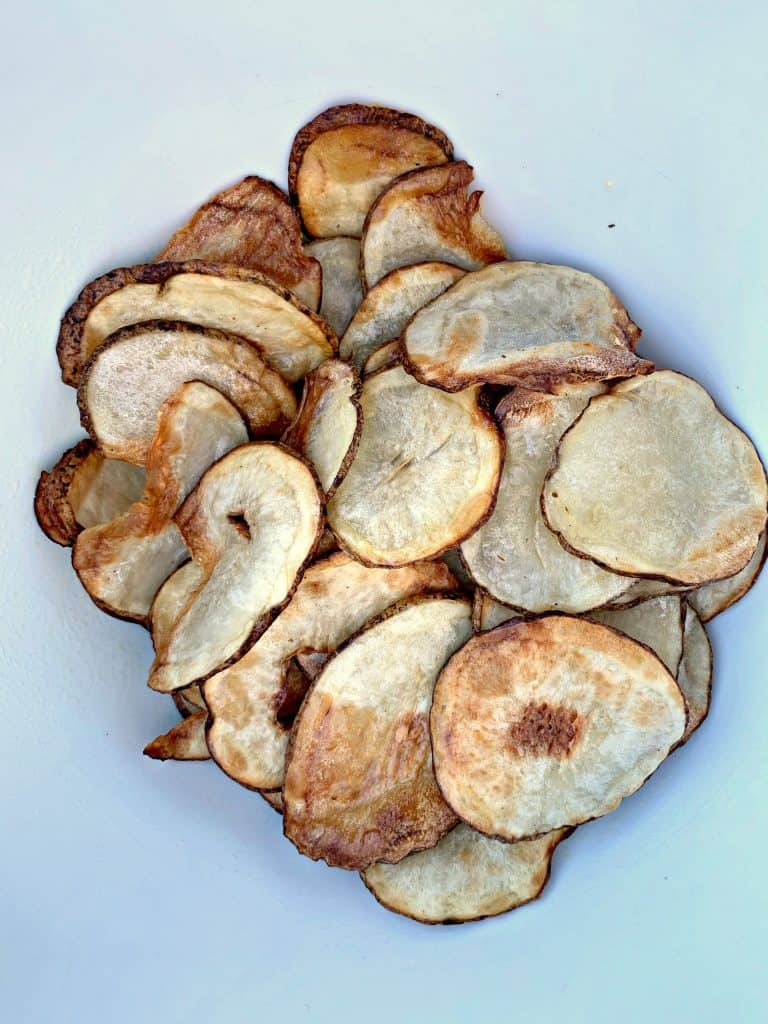air fryer potato chips in an air fryer
