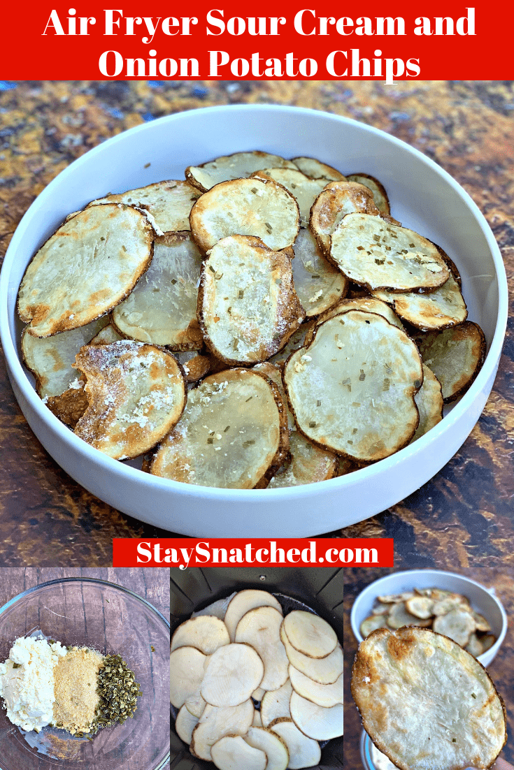 Air Fryer Crunchy Homemade Sour Cream and Onion Potato Chips is a quick and easy recipe loaded with flavor. Cut the fat of traditional potato chips and make your own using the air fryer.  You can use the Power Air Fryer or any brand. One serving of chips is less than 100 calories and 3 grams of fat! #AirFryerRecipes #AirFryerPotatoChips