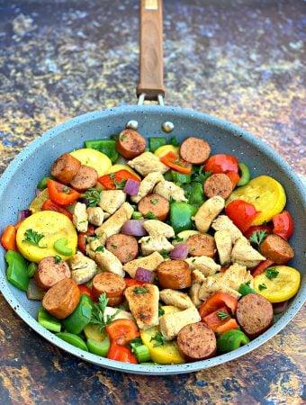 Keto Low-Carb Cajun Chicken, Sausage, and Vegetable Skillet