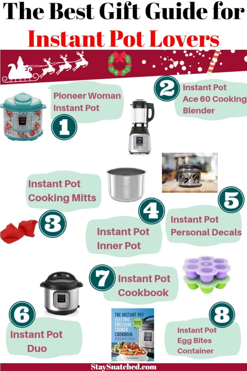 The Best Must Have Accessories and Gift Guide for the Instant Pot includes a listing of the most popular items that will please any Instant Pot lover! It includes items like the new Ace 60 Cooking Blender, steam basket, personalized instant pot decals and covers, cookbooks, and more! You can choose to shop at Amazon, Target, or Walmart. #StaySnatched #InstantPotGiftGuide #InstantPotAccessories #InstantPot