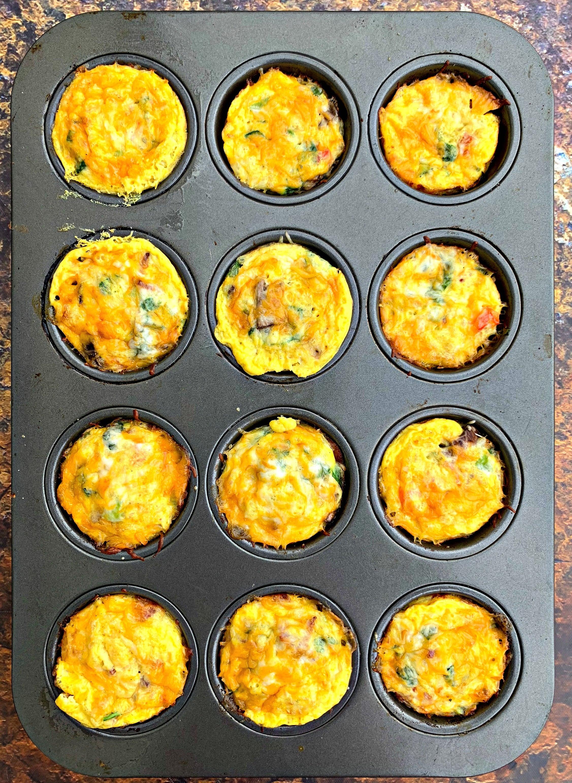keto bacon egg bites in a muffin tin