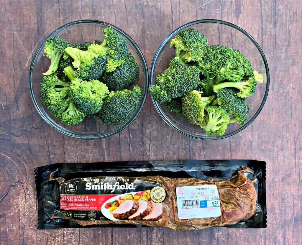 pork loin and fresh broccoli in a powl