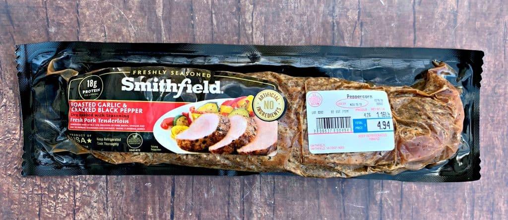 raw pork loin in a package