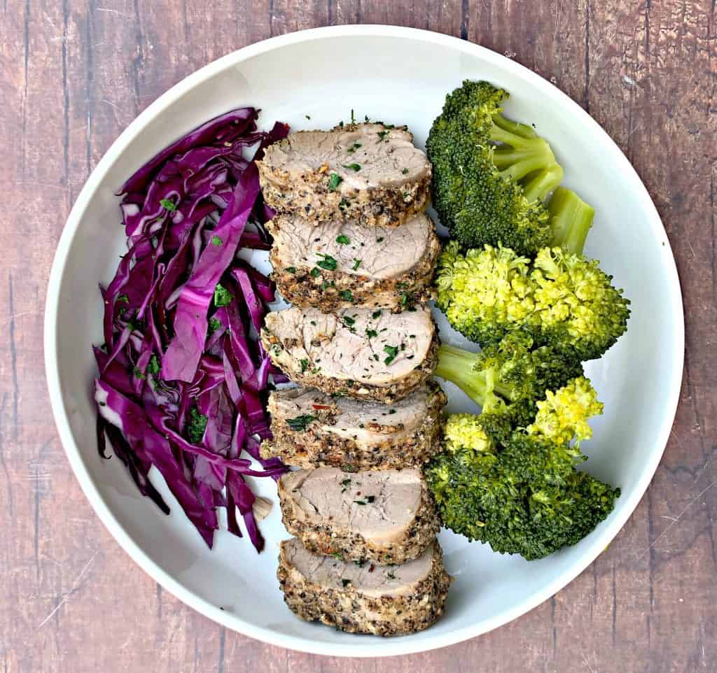 pork loin in a bowl with broccoli