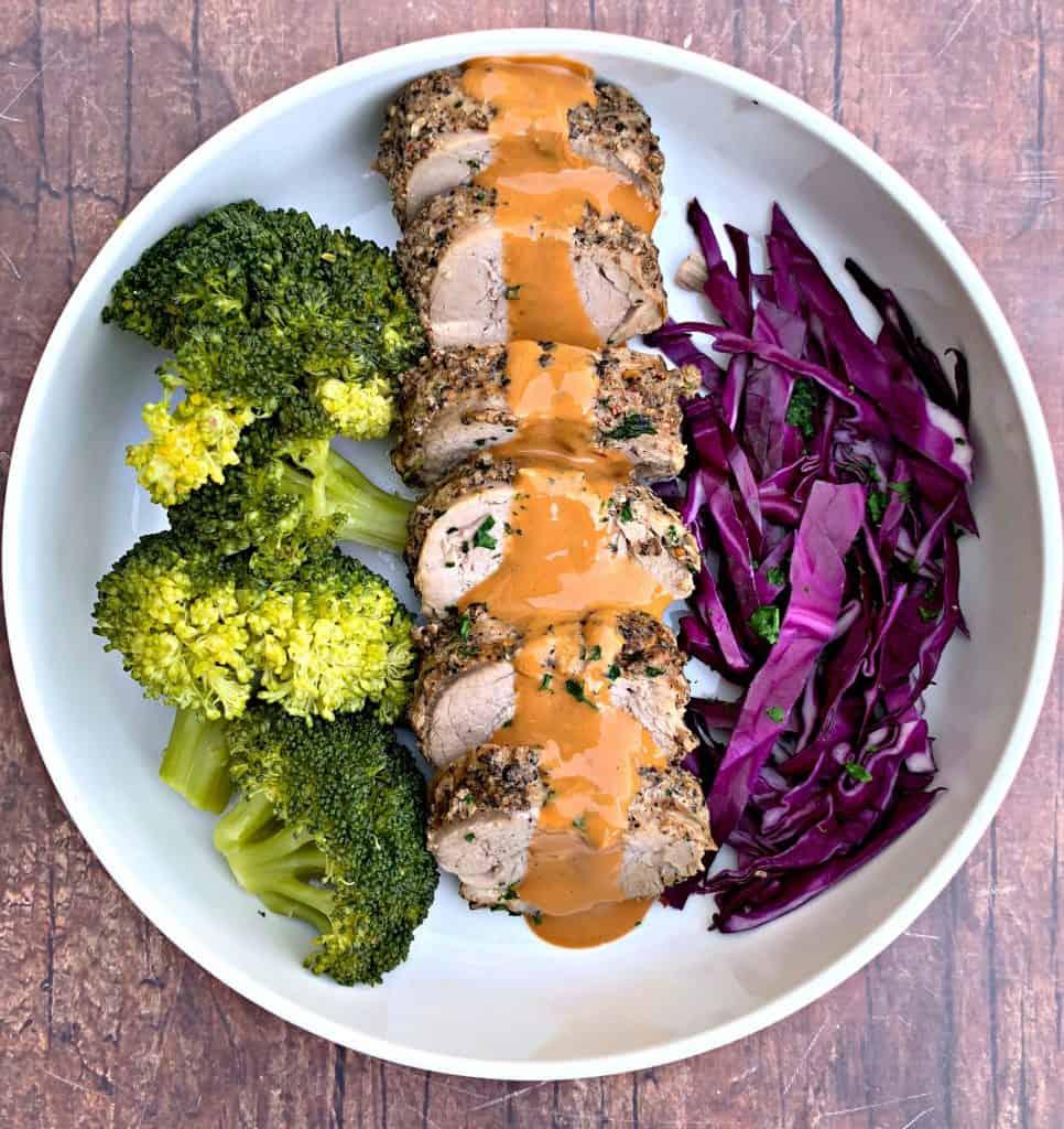 sliced pork loin with broccoli and peanut lime sauce