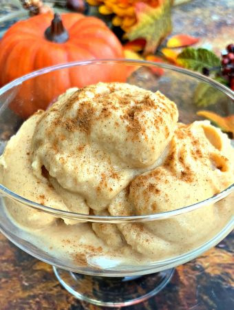 instant pot cooking blender pumpkin spice ice cream in a glass bowl