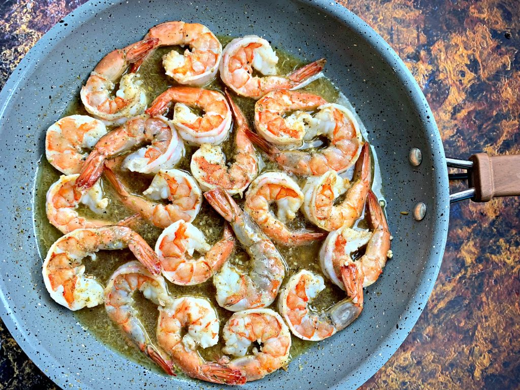 red lobster shrimp scampi in a pan