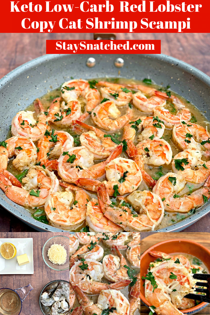 Easy Keto Low-Carb Red Lobster Copycat Garlic Shrimp Scampi is a quick and easy recipe that provides step by step instructions on how to make restaurant quality garlic butter sauce with succulent shrimp, white wine, and parmesan cheese. You can even make the dish without white wine if you prefer. #KetoRecipes #RedLobsterShrimpScampiRecipe