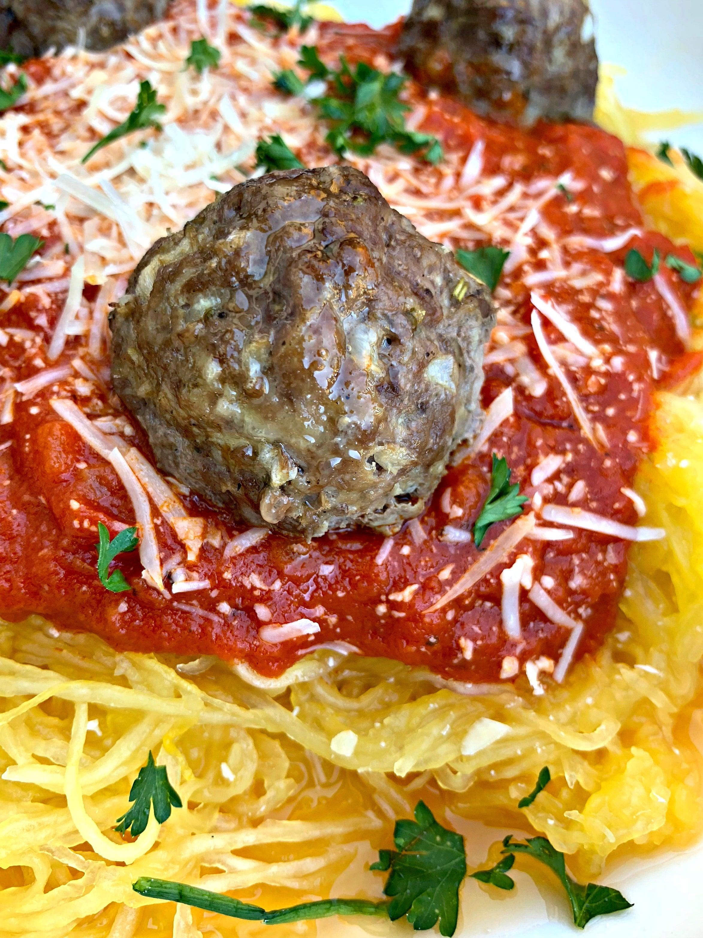 spaghetti squash marinara in a white bowl