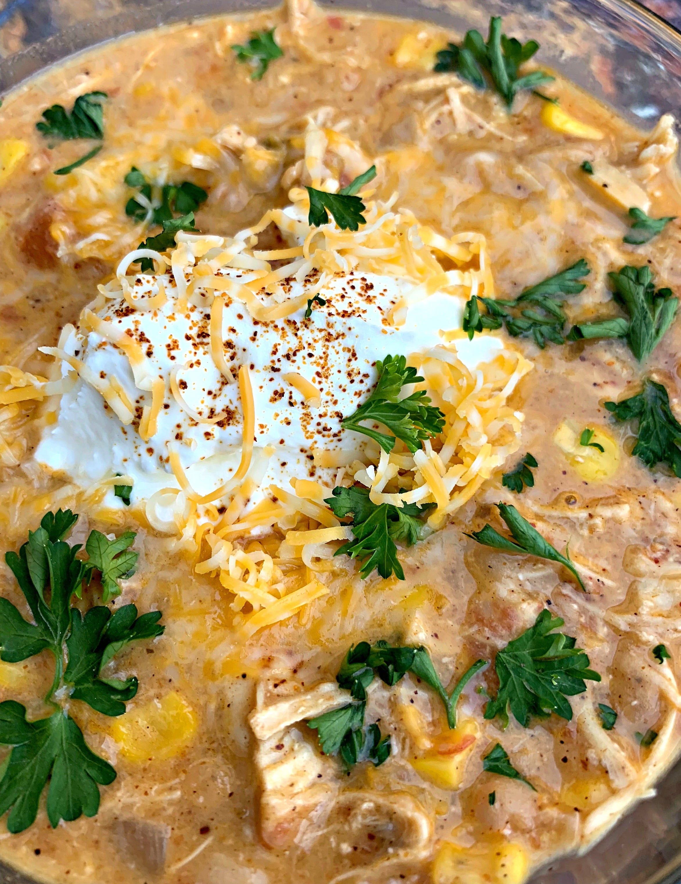 a close up of instant pot white chicken chili