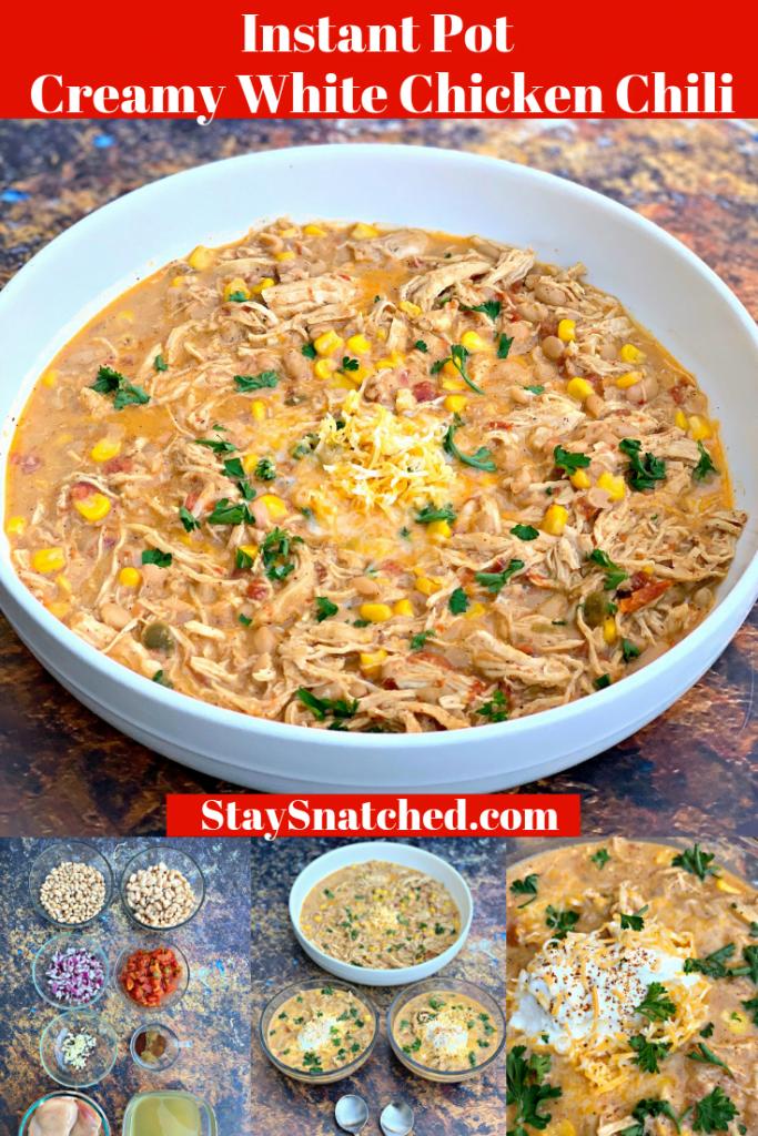 instant pot white chicken chili photo collage