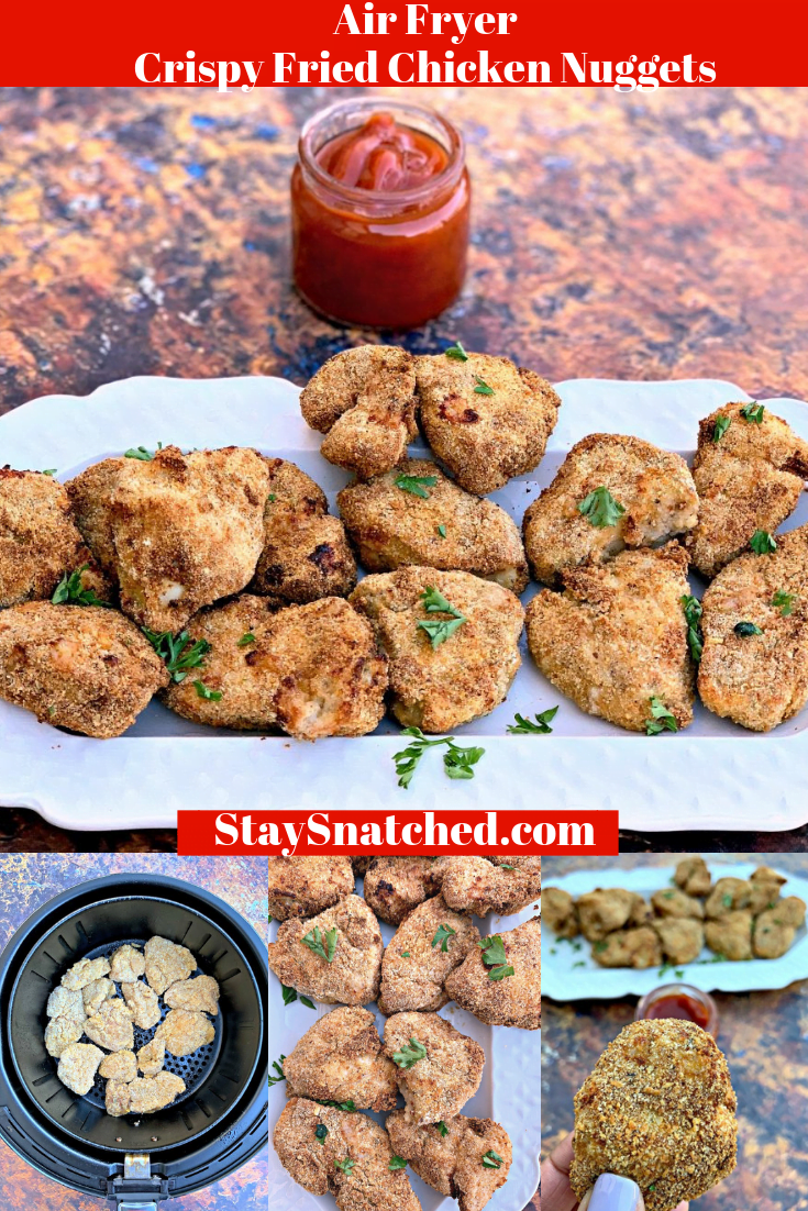 Easy Air Fryer Crispy Fried Chicken Nuggets is a quick kid-friendly recipe using chicken breasts to make healthy nuggets. You can also cut the breasts into strips to make chicken tenders or strips. You won't need to head out to ChickFila to please the family! The recipe includes tips on how to cook from frozen using the Air Fryer XL or any branded air fryer. Are you keto or low-carb? Simply omit the breading and create naked tenders.
