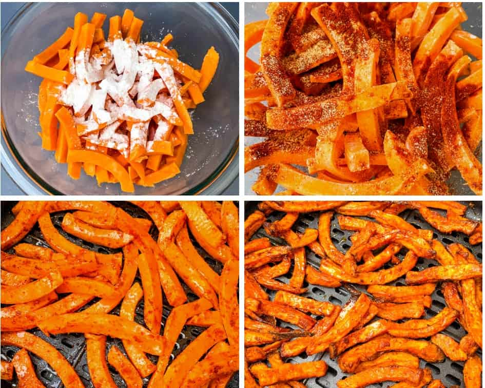 sweet potato fries with seasoning in an air fryer